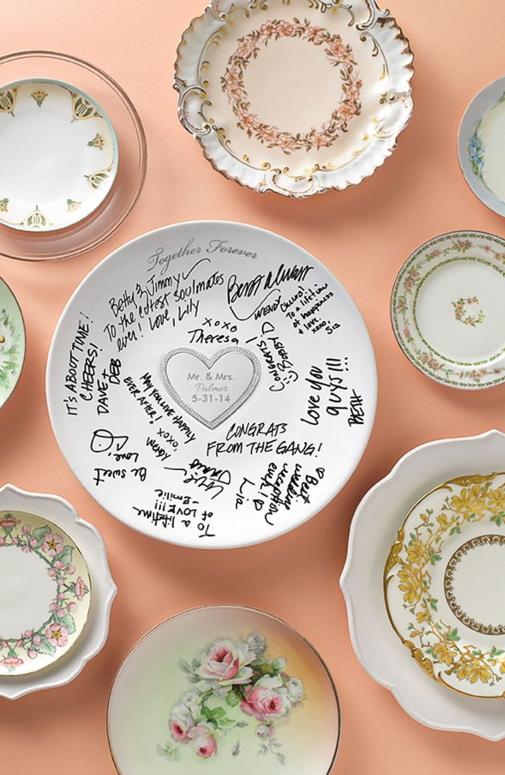 Use a signature serving plate as a Unique wedding guest book