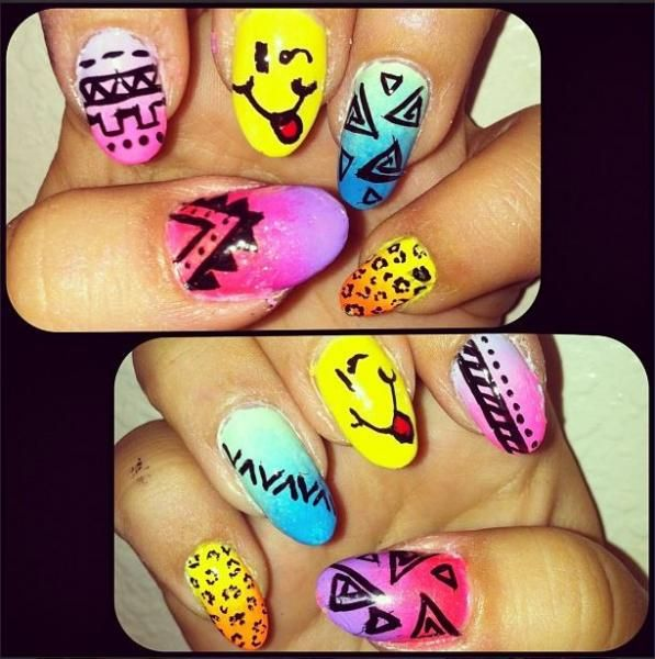 Funky fun nails | Brilliant for a festival | Holiday. Perfect Summertime brights!