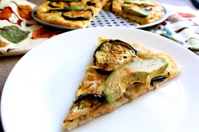 Vegan Israeli Pizza...hummus, roasted eggplant, carmelized onions, and ...