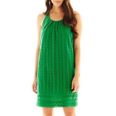 Pleat neck eyelet shift dress clothes pinterest