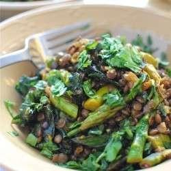 Indian lentil saute with asparagus and kale!