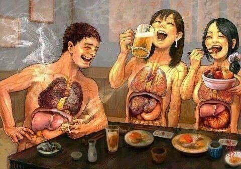 Tabaco, alcohol y la respuesta del cuerpo (muy gráfica)