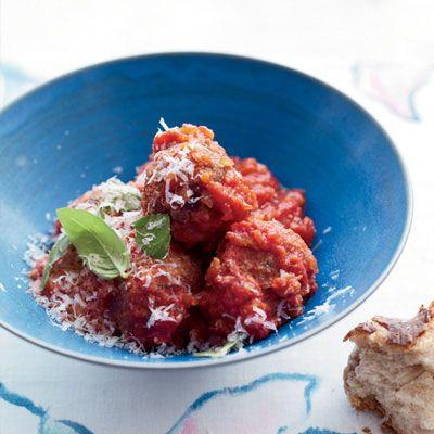 """Eggplant and Porcini """"Meatballs"""" in Tomato Sauce Recipe - Delish.com"""