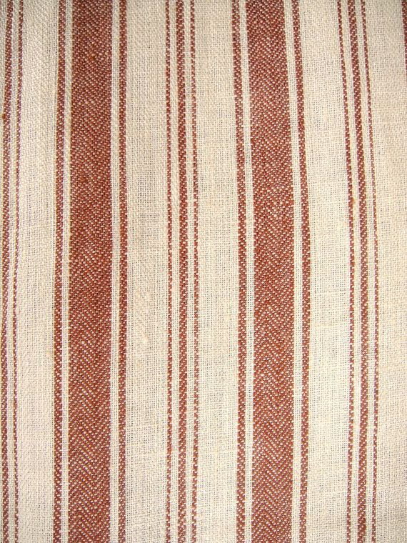 METERAGE French Belgian Linen ticking fabric by Libeco Antibes Old Red ...