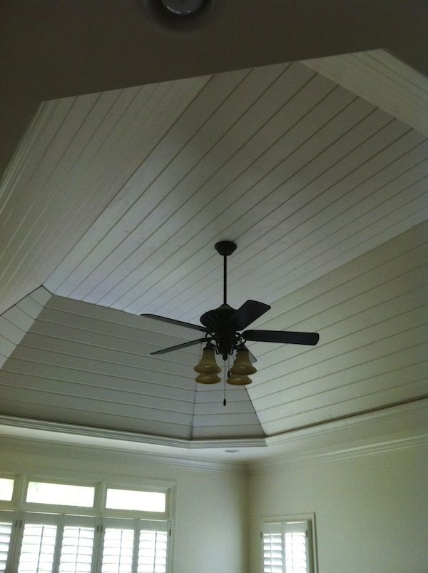 Right idea wrong light fixture bathrooms redone pinterest Shiplap tray ceiling