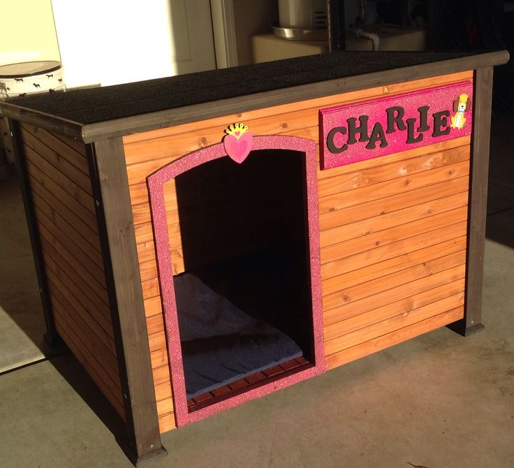Cutest sparkly pink dog house cute dog houses pinterest