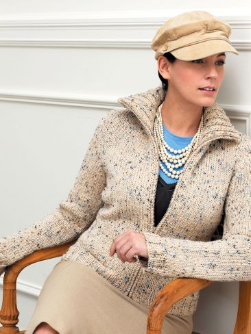 Zip Front Cardigan With Flared Sleeves   Yarn   Free Knitting Patterns