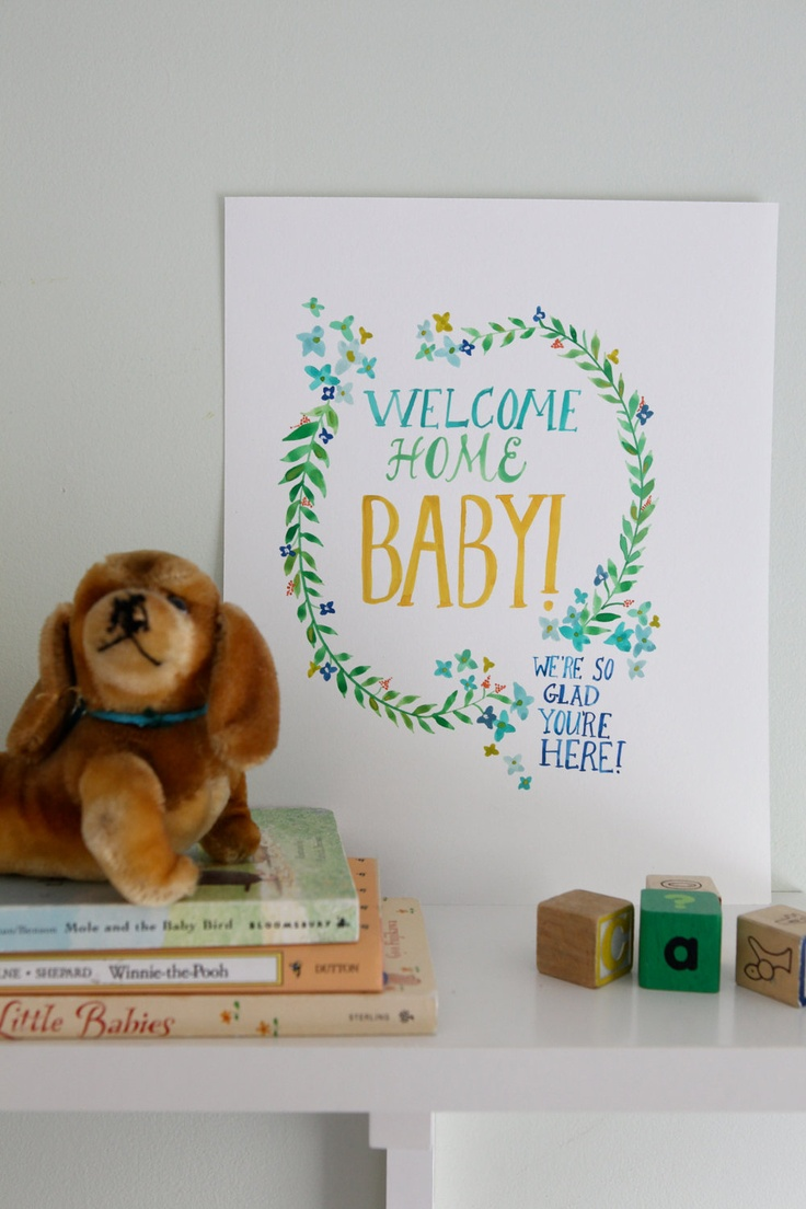 Hand painted welcome home baby sign for Welcome home decorations for baby