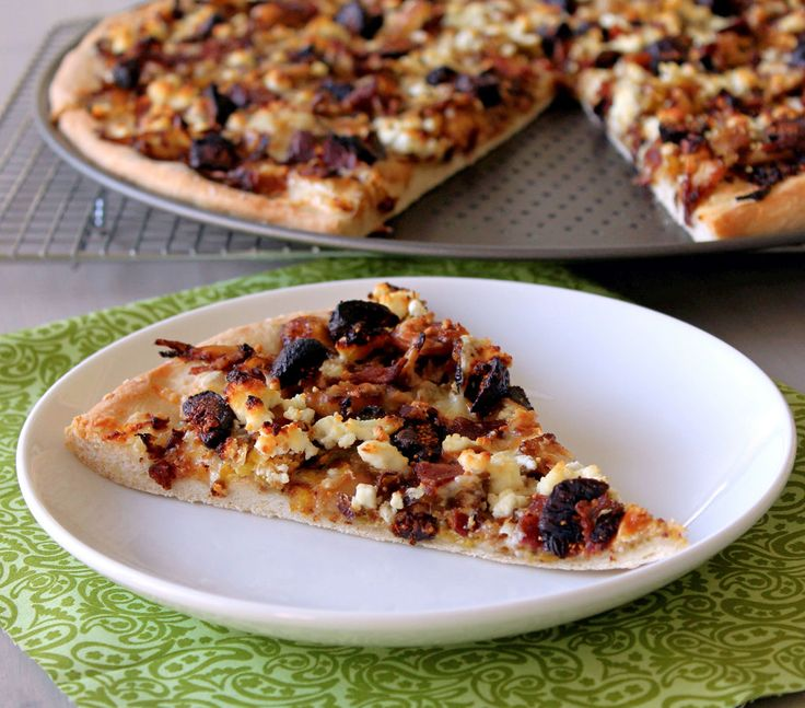 yummy pizza topped with brussels sprouts, bacon, figs and goat cheese ...