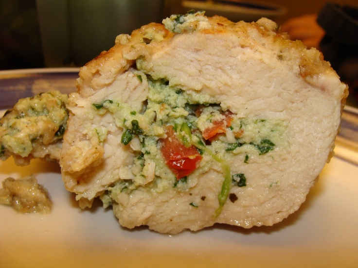 Ricotta, Spinach, Tomato and Basil Stuffed Crusted Chicken