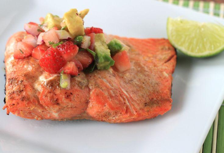 Strawberry avocado salsa with grilled salmon | Recipe