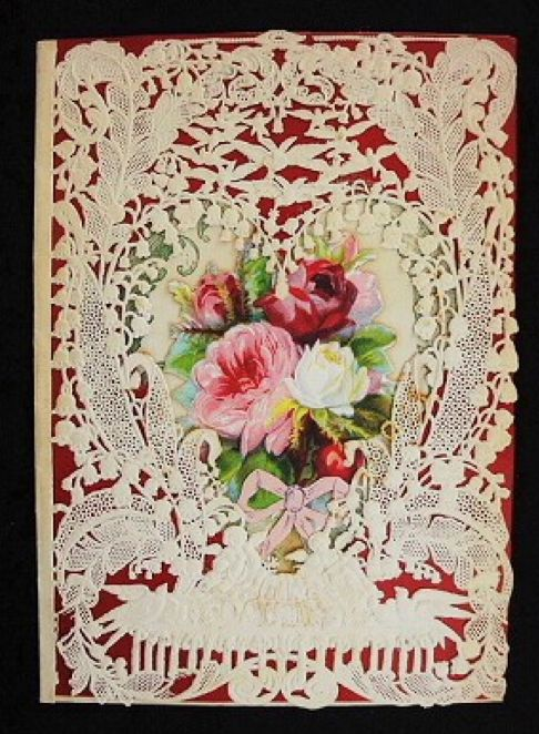 Victorian cut-out card with roses... | Patterns for Mosaic Work / Ros ...