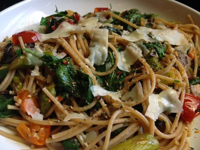 Whole wheat pasta primavera. Adding lots of veggies really makes a ...