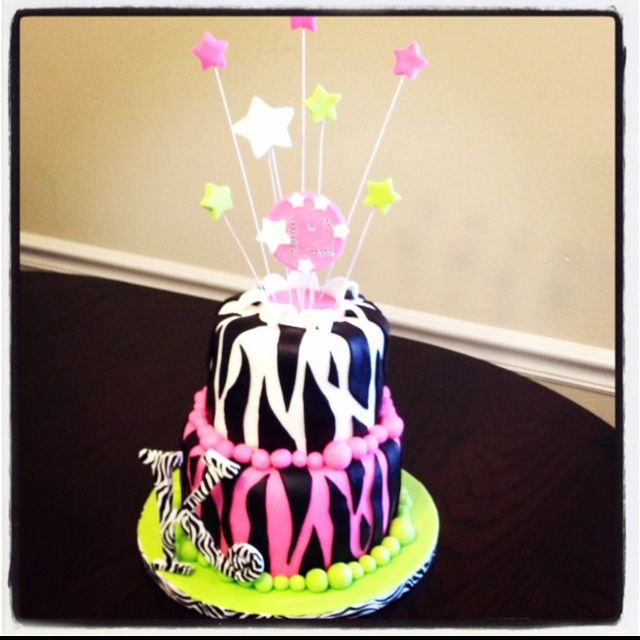 Pink and green zebra birthday cake  cakes  Pinterest