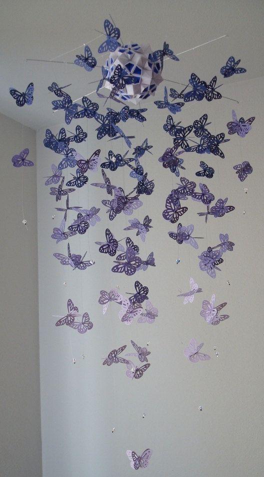 Люстра из бумаги с бабочками своими руками 3