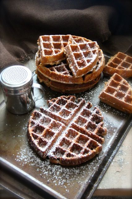 Gingerbread Waffles...garnish with sliced pears or sliced green apples ...