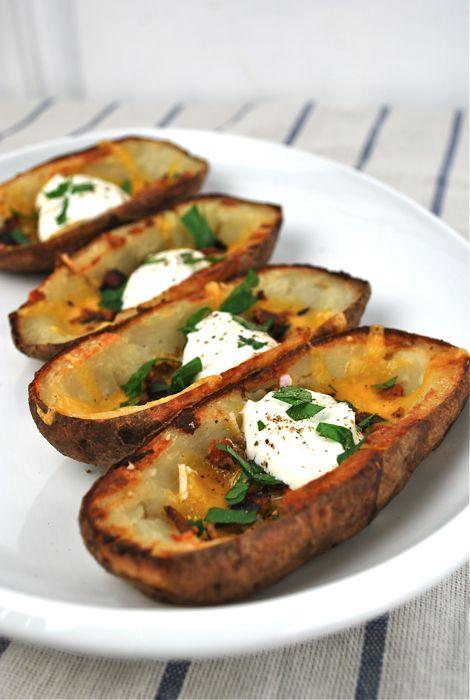 Potato Skins Recipe, Buffalo Chicken Dip and 7 Layer Dip