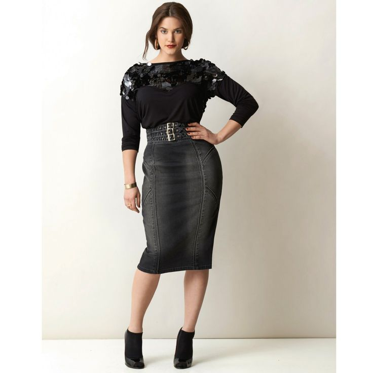 William Carnimolla Ali Tate mode grandes tailles plus-size fashion sequined top pencil skirt
