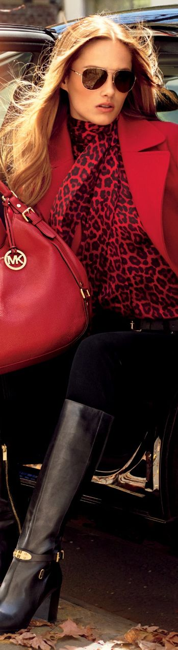 Red coat red leopard scarf handbag and long boots