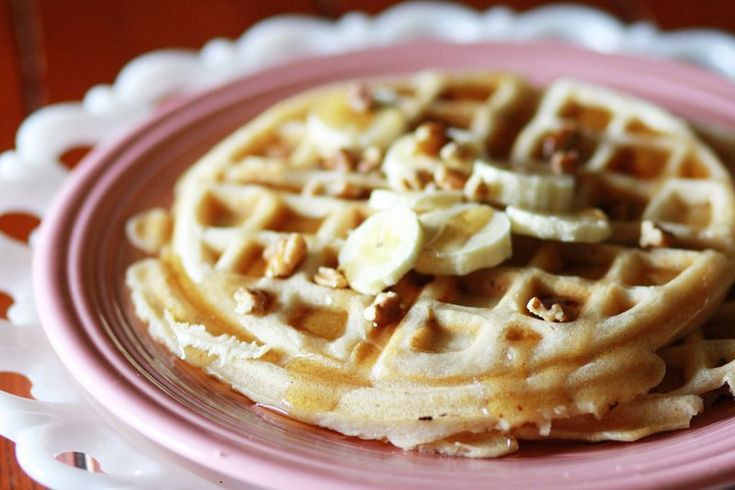 From scratch Banana Nut Waffles -- I used whole wheat flour and I ...