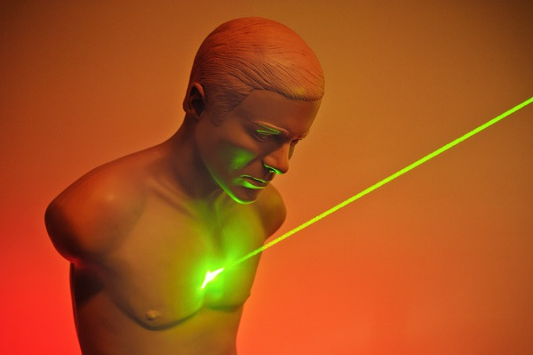 ( Mark Mirko, Hartford Courant / October 22, 2010 )  A beam from a ballistic laser system shines on a ballistic mannequin at the new Henry Lee Institute at University of New Haven.