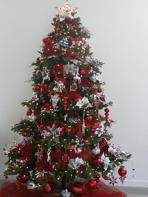 Silver bells tree trees of christmas pinterest for Red and silver christmas tree decorations
