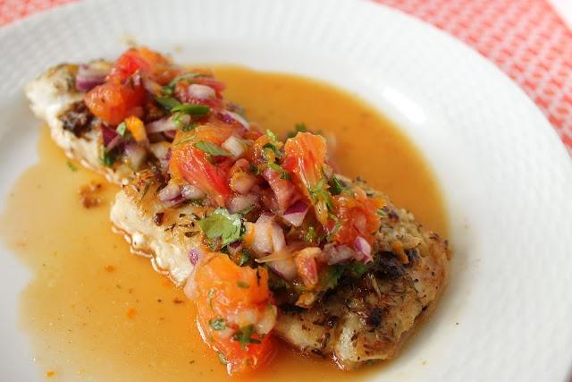 Sear-Roasted Fish with Blood Orange Salsa