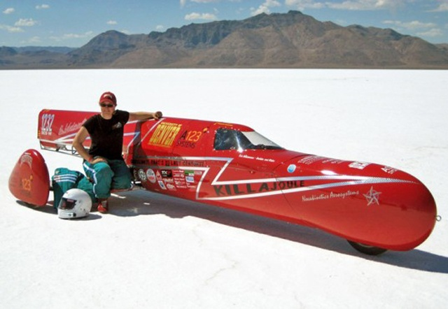 """Eva Hakansson and her handmade """"KillaJoule"""" Electric Sidecar Motorcycle.  World Fastest Electric Sidecar Motorcycle. 216MPH!"""