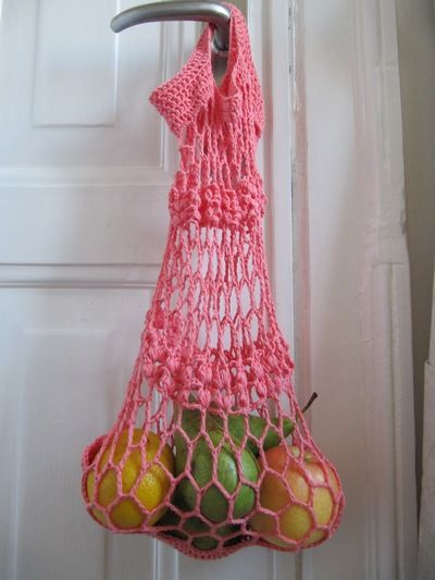 Crochet Apricot String Bag - Tutorial- could also be used as a laundry ...