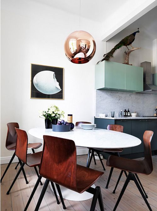 Kitchen, mint, copper, chairs, bird | Design I Love | Pinterest