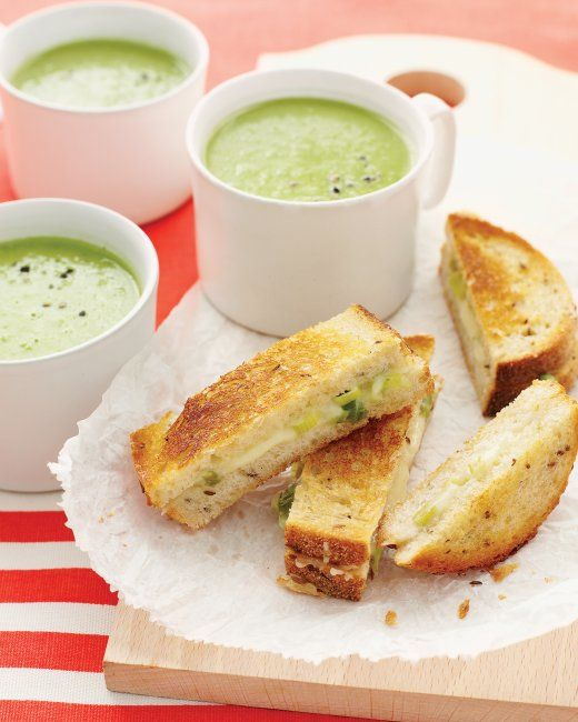 Green-Pea Soup with Cheddar-Scallion Panini | Recipe