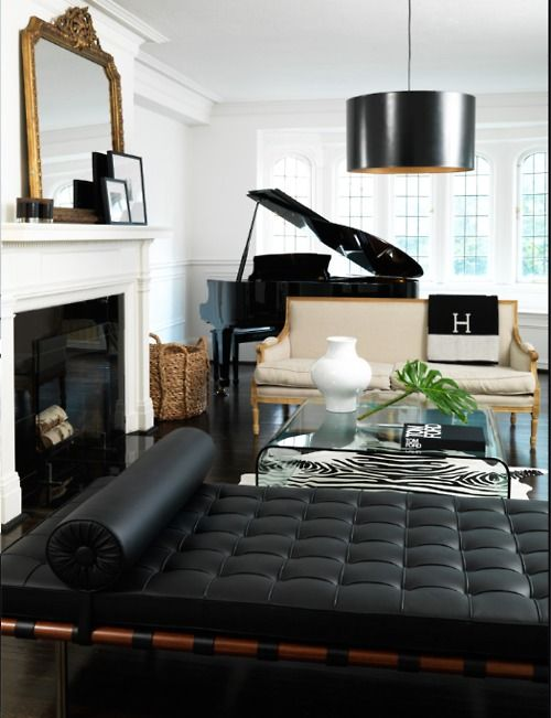 fireplace...black/white/gold accents