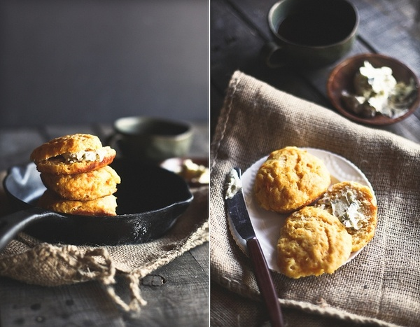Sweet Potato Biscuits with Caramelized Shallot Sage Butter #Recipes