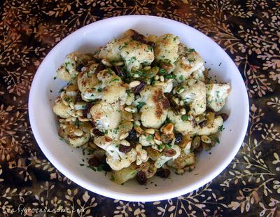 Roasted Cauliflower with Raisins & Pine Nuts | Leafy Greens and Me