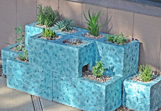 Pin by sandra groce on projects for outdoors pinterest - Painting cinder blocks for garden ...