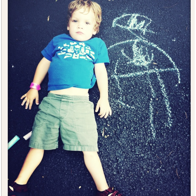 posing with chalk self-portrait. Do this!
