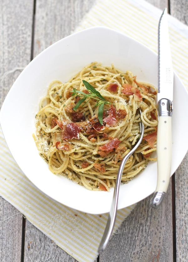 ... Spaghetti with Toasted Breadcrumbs, Fresh Herbs and Prosciutto
