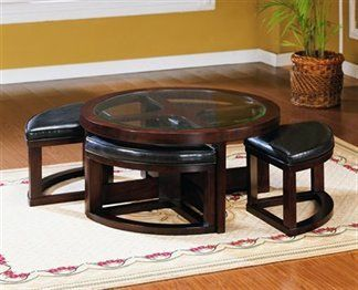 Brussel Round Cocktail Table With Four Ottomans Perfect For Apartments