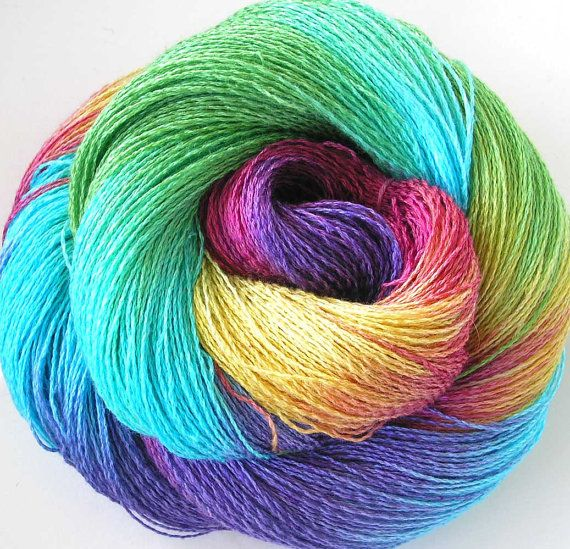 Hand Dyed Yarn : Hand Dyed Rayon Cotton Yarn Lace Yarn Pool Party by FiberFusion, $14 ...