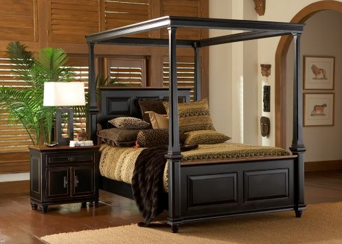 dark wood canopy bedroom set feather our nest pinterest