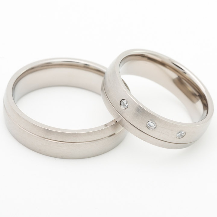 two matching 6mm titanium wedding bands promise rings for