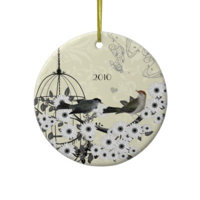 Vintage Birds & Bird Cage on Damask Christmas Ornaments by samack #whytaboo #Christmas #style #purple #black #silver #white #theme #love #xmas