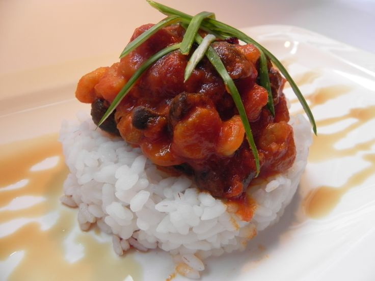 sauce (shrimp, garlic, tomato sauce, olive, Parmesan, rice, brandy ...