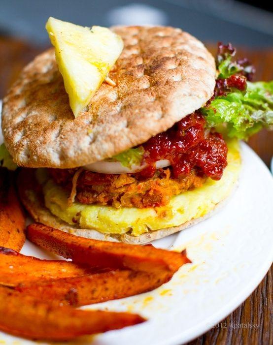 pineapple jerk veggie burgers sassy sides health