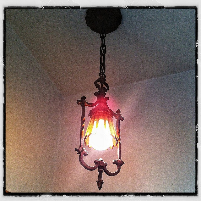 vintage wrought iron light fixture spanish style homes. Black Bedroom Furniture Sets. Home Design Ideas