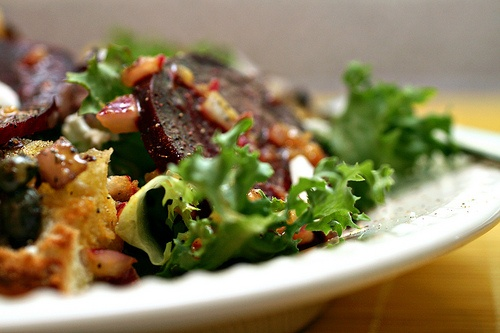 roasted beet salad with olive croutons and ricotta salata