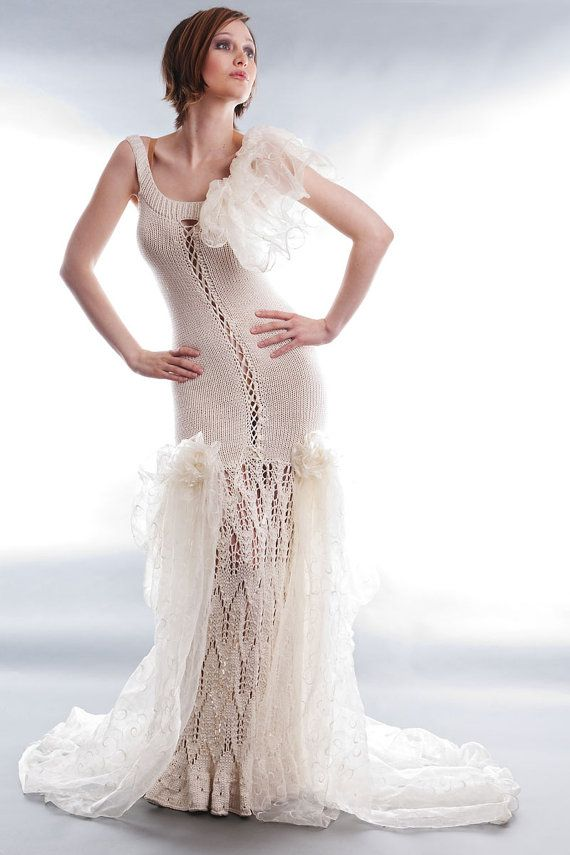 Knitting Pattern Wedding Dress : Knit wedding gown Pearl 36/38