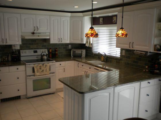 dark backsplash I wouldn't do counters an darker than this  Kitchen