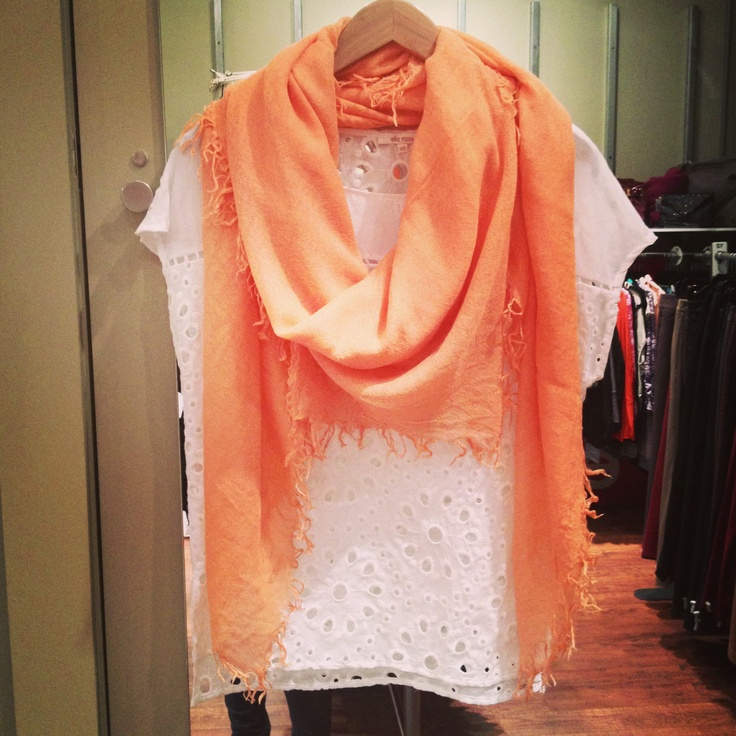 Chan Luu scarf in cantaloupe and exaggerated eyelet Ella Moss top