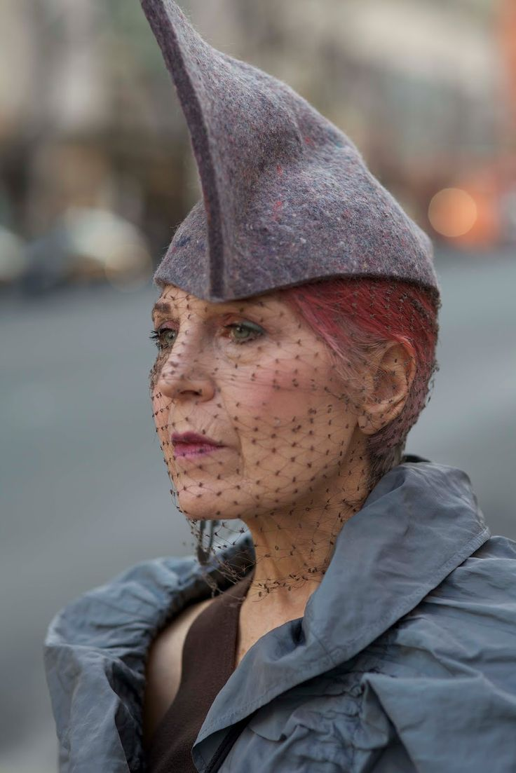 Debra Rapoport always has the most amazing accessories, most of which she makes by hand out of recycled materials. People always stop her to ask about her wonderful industrial felt hats and bracelets and lately she has been selling them right on the spot. Via Advanced Style.